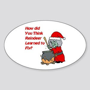 How Reindeer Fly Oval Sticker