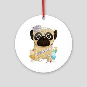 Bachelorette Pug Round Ornament