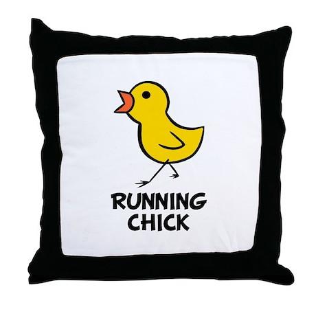Running Chick Throw Pillow