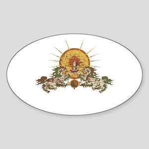 Tibetan Snow Lion Oval Sticker