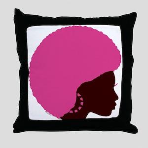 Pink Afro Throw Pillow