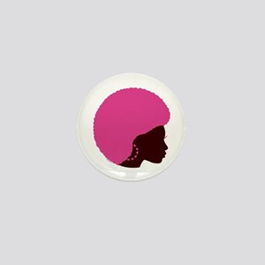 Pink Afro Mini Button