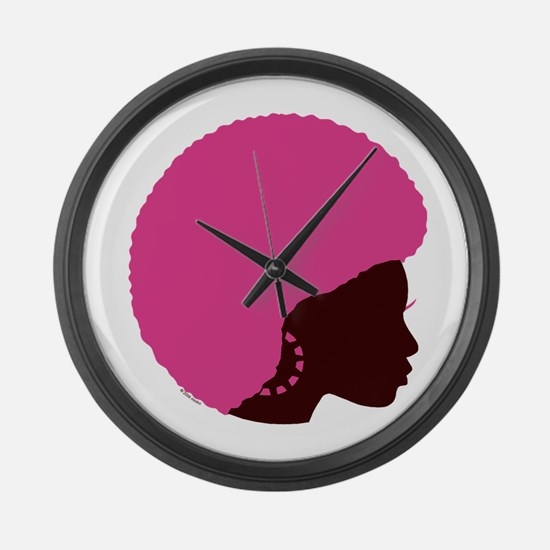 Pink Afro Large Wall Clock