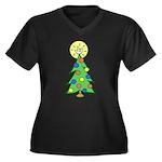 ILY Christmas Tree Women's Plus Size V-Neck Dark T