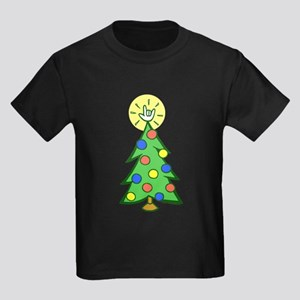 ILY Christmas Tree Kids Dark T-Shirt