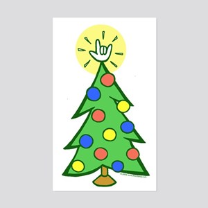 ILY Christmas Tree Rectangle Sticker