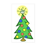 ILY Christmas Tree Rectangle Sticker