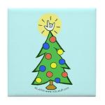ILY Christmas Tree Blue Tile Coaster