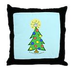 ILY Christmas Tree Blue Throw Pillow