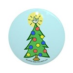 ILY Christmas Tree Blue Ornament (Round)