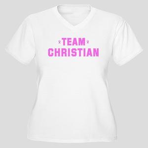 Team CHRISTIAN Women's Plus Size V-Neck T-Shirt
