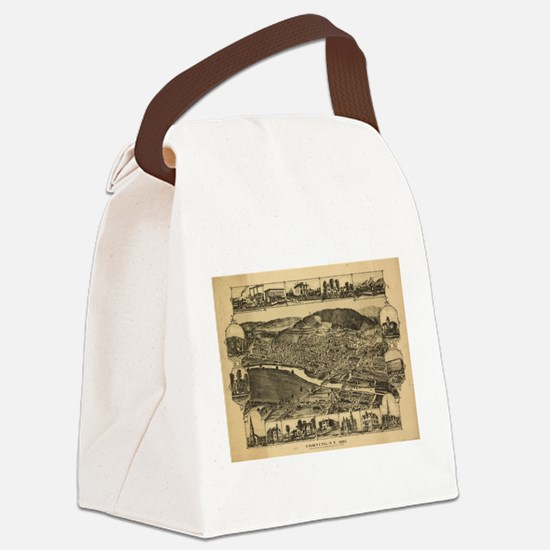 Vintage Map of Corning New York ( Canvas Lunch Bag