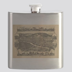 Vintage Map of Corning New York (1882) Flask