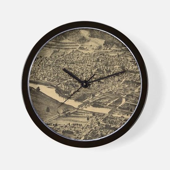 Vintage Map of Corning New York (1882) Wall Clock
