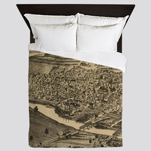 Vintage Map of Corning New York (1882) Queen Duvet
