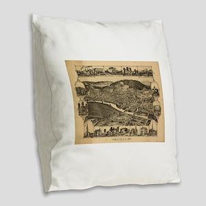 Vintage Map of Corning New Yor Burlap Throw Pillow