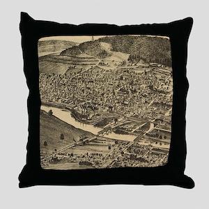 Vintage Map of Corning New York (1882 Throw Pillow