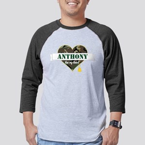 Army Personalized Heart Mens Baseball Tee