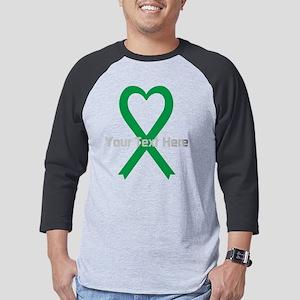 Personalized Green Ribbon Heart Mens Baseball Tee