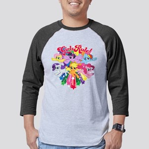 MLP Girls Rule! Dark Mens Baseball Tee