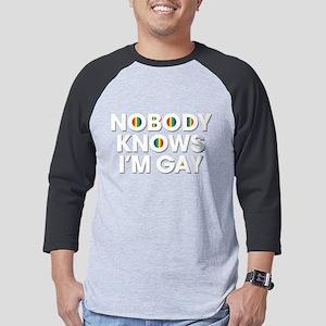 Nobody Knows I'm Gay Dark Mens Baseball Tee