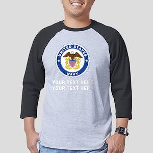 US Navy Emblem Customized Mens Baseball Tee