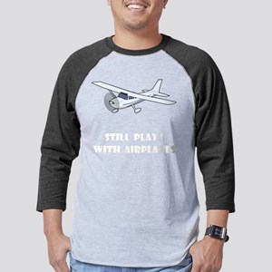 Plays With Airplanes White Mens Baseball Tee