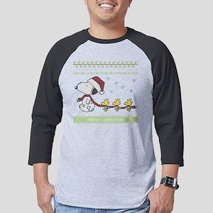 Snoopy Ugly Christmas Red Mens Baseball Tee