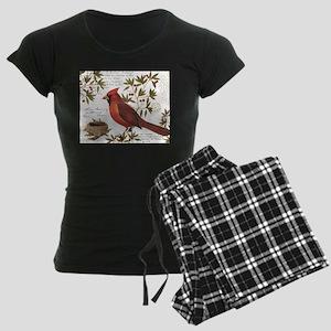 modern vintage winter woodland cardinal Pajamas