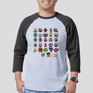 Marvel Kawaii Heroes Dark Mens Baseball Tee