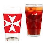 White Maltese Cross Drinking Glass