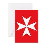 White Maltese Cross Greeting Cards
