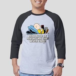 Charlie Brown-Peanuts Reading Mens Baseball Tee