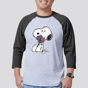 Snoopy - Flowers Mens Baseball Tee