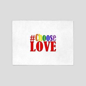 Choose Love Rainbow 5'x7'Area Rug