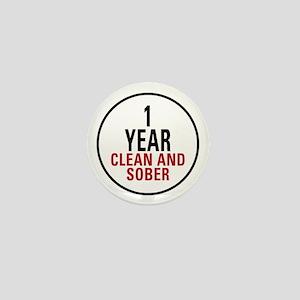 1 Year Clean & Sober Mini Button