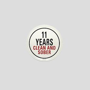 11 Years Clean & Sober Mini Button
