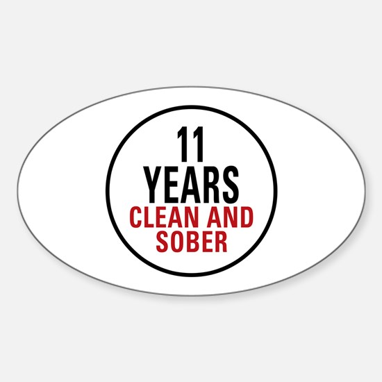 11 Years Clean & Sober Oval Decal