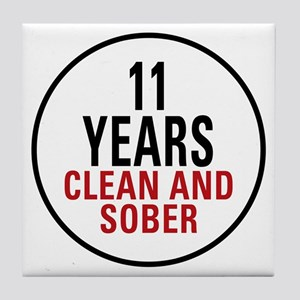11 Years Clean & Sober Tile Coaster