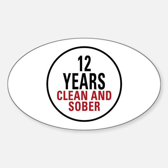 12 Years Clean & Sober Oval Decal