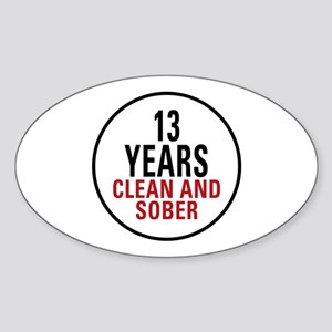 13 Years Clean & Sober Oval Sticker