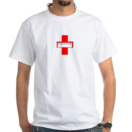 Red Cross, Black Letters with White T-Shirt