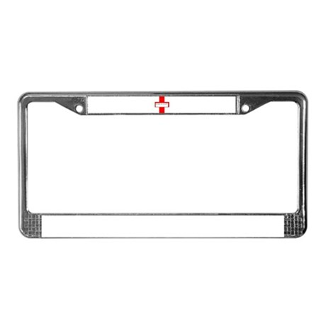 Red Cross, Black Letters with License Plate Frame