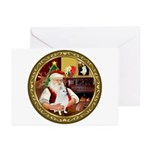 Santa's American Eskimo #5 Greeting Cards (Pk of 2