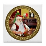 Santa's American Eskimo #5 Tile Coaster
