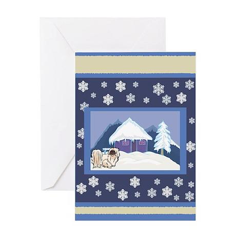 Snowflake Pekingese Greeting Card