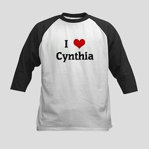 I Love Cynthia Kids Baseball Jersey
