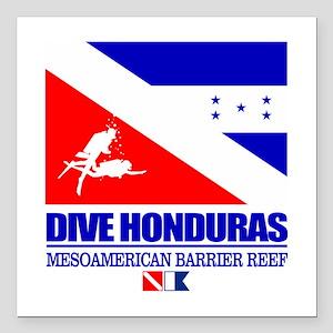 """Dive Honduras Square Car Magnet 3"""" x 3"""""""