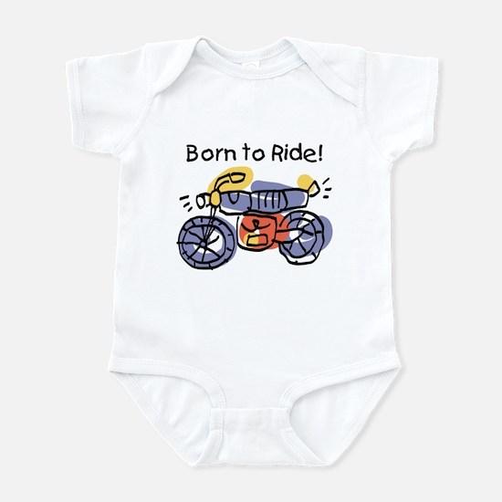 Child Art Born To Ride Infant Bodysuit
