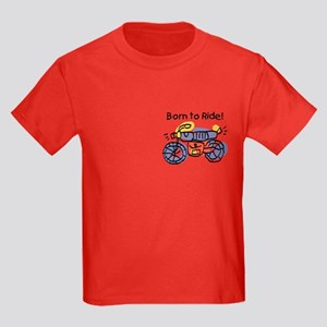 Child Art Born To Ride Kids Dark T-Shirt